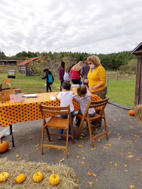 People visiting Ephphatha Farm at the pumpkin giveaway 2020